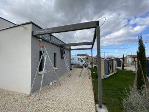 Chantier installation carport Renson Charente